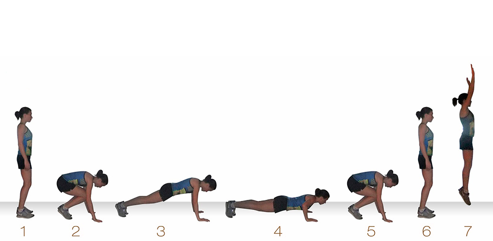 burpees con giro lateral - ejercicios core - sated fitness